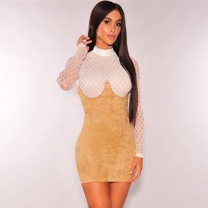 Dresses & Skirts - Mocha Faux Suede Underbust Skirt